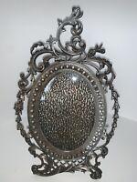 Vintage Ornate Silver Plate Picture Frame Easel Scroll Rococo Baroque Lattice