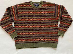 Vintage  Newton Trading Company Unisex 100% Wool Ski Sweater XL Crew Neck Green