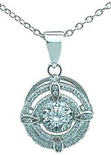 .925 Sterling Silver Round Floating DANCING Rhythm Diamond cut Pendant Necklace