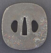 18-19thC ANTICO PERIODO EDO giapponese Forgiato Ferro TSUBA * FIRMATO *