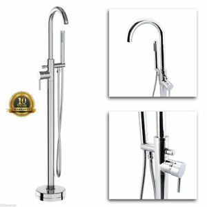 Free Standing Bath Shower Mixer Tap Floor Mounted Chrome Metal Over Bath filler