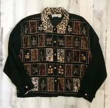 TANTRUMS CORDUROY JACKET WOMEN'S 2X EMBROIDERED WITH LEAFS (ANIMAL PRINT)