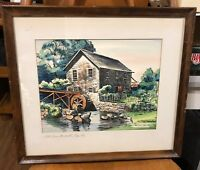 CAPE COD WATERCOLOR - ROBERT BROOKS - OLD BREWSTER MILL, FRAMED - LISTED ARTIST