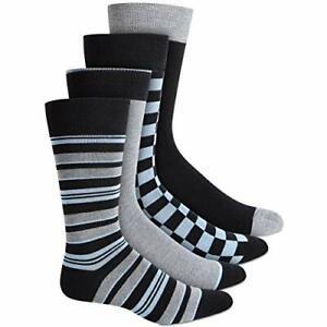 MSRP $26 Alfani Mens 4 Pack Checkered Dress Socks Gray 7-12 (4-Pack)