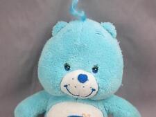 PLUSH BABY BOY BLUE CARE BEAR BEDTIME MOON RATTLE STUFFED ANIMAL SOFT CRIB TOY