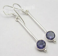 "925 Sterling Silver Classic IOLITE LONG FRENCH WIRE Earrings 2"" LOW SHIPPING"