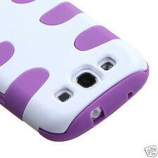 SAMSUNG GALAXY S3 FISHBONE HYBRID HARD CASE SKIN COVER ACCESSORY WHITE/PURPLE