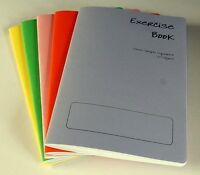 5 x A5 School Maths 10mm squared Exercise books assorted coloured cover 40 pages