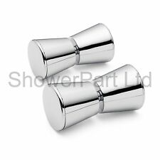 2 x Shower Door Handles/Knobs Chrome Plated Cone Shaped L063