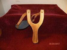 NEW  WOODEN  SLINGSHOT WITH LEATHER AMMO POUCH -- NICE GIFT