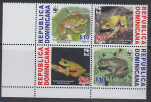 REP098 - REPTILES AMPHIBIANS DOMINICANA  2011 FROGS BLOCK MNH