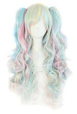 Mapofbeauty multi-colore Lolita lunghi ricci clip per code di cavallo Cosplay Parrucca pinkbl