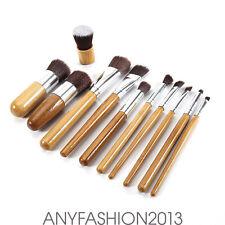 11 PCS Wooden Handle Soft Fiber Brushes For Women Girls Makeup Cosmetics DL66