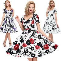 CLASSY Vintage Style Floral 1940's 1950's Swing Pin Up Retro Evening Party Dress