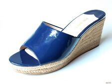 new PRADA navy patent leather open-toe raffia WEDGES shoes 41.5 11.5