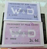 British P O W Camp Money 3d and 2 s 6d