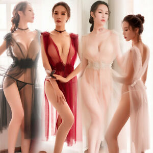 US Sexy Womens See Through Long Dress+G-String Babydoll Nightdress Set Sleepwear