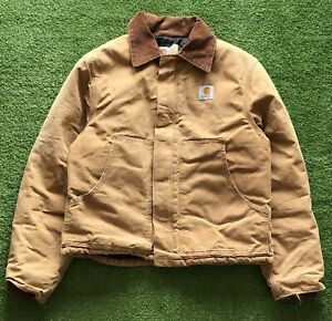 Vintage Carhartt J02 Distressed Lined Canvas Duck Jacket Brown Tan Men's Small