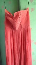 NEW WITH TAG BRIDEMAID/PROM  CORAL PLEATED MAXI DRESS SIZE 16 SMALL FIT 12-14