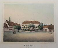 Lithografie Naunhof Ansicht Sachsen Poenicke Schlösser & Rittergüter um 1855 xz