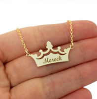 Personalized Name Crown Necklace Laser Engraved Pendant Stainless Steel Chain