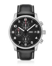 Audi Chronograph Uhr Herrenuhr Edelstahl Leder schwarz / silber 3101900200