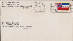 USA 1976 domestic COVER with Bicentennial Era Mississippi flag stamp @D3113