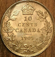 1909 CANADA SILVER 10 CENTS COIN - Broad leaves - Fantastic example!