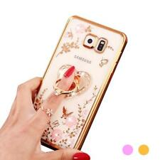 Flower Diamonds Soft TPU Phone Holder Cases Cover For Samsung S8 Plus For iPhone