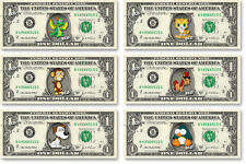 ONE(1) COLOR Character on a Dollar Bill - Currency Cash Money Bank Note Cartoon