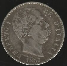 More details for 1887 italy silver 2 lire coin | european coins | pennies2pounds