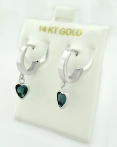 GENUINE 1.38 Cts BLUE ZIRCON HUGGIE EARRINGS 14k WHITE GOLD  ** New With Tag **