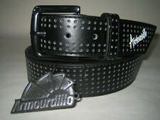 ARMOURDILLO Riddle Belt Perforated Black Split Leather NWT Size M Mens