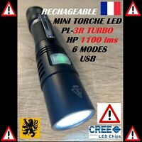 LAMPE TORCHE LED PL-3R 1xCREE TURBO 1100Lm 4V 2,5W 50m USB RECHARGEABLE DE POCHE
