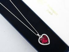 ARABESQUES JEWELS GENUINE CRYSTAL RED BALLET HEART NECKLACE/PENDANT/CHAIN 45/51