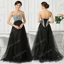 BEADED Strapless Formal Evening Party Wedding Ball Gowns Prom Bridesmaid Dresses