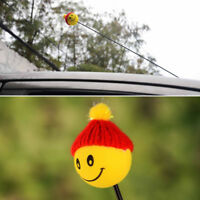 Mini Yellow Happy Smiley ​Face With Wool Hat Car Antenna Pen Topper Aerial Ball