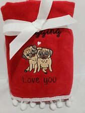 Valentines Day Pug I Pugging Love You Embelllished Bathroom Hand Towels Set of 2