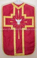 Red Holy Spirit Roman Chasuble  Fiddleback Vestment Fiddleback 5pcs set,Casulla