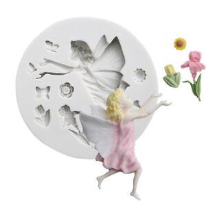 Flower Elf Fairy Silicone Cake Topper Decor Mould Fondant Sugarcraft Mold Tool