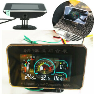 Car 4 in 1 Water Temperature/Oil Pressure/Fuel/Voltage Gauge 3 Digit LCD Display