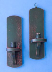 David T. Smith Primitive Wooden Sconce Taper Candle Holders Rustic Distressed