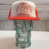 Jill's Husky House Evanston, Wy. Orange Adjustable Trucker Hat Cap