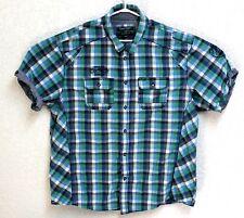 Point Zero Orange Label Mens Plaid Short Sleeve Multi Color XL Shirt EUC