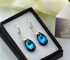 925 Sterling Silver Earrings made with Swarovski Crystals 22mm PEAR Bermuda Blue