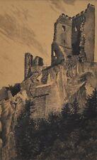 Drachenfels am Rhein alte Radierung neu gerahmt