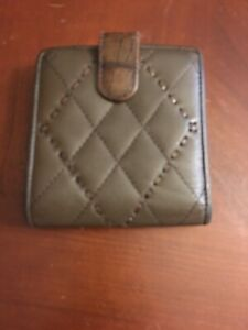 Brighton Bi Fold Wallet Clutch  Taupe Quilted Leather