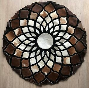 Cowhide Rug Round Circle Leather Floor Carpet Handmade Luxury Modern3