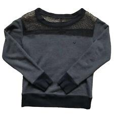 True Religion Women's Gray Sweater Logo Mesh Top Long Sleeve Size S Small - C