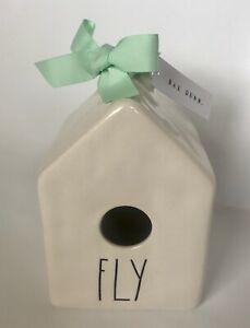 """Rae Dunn by Magenta Square Birdhouse """"Fly"""" Nest On Back 2019 Dimpled New"""